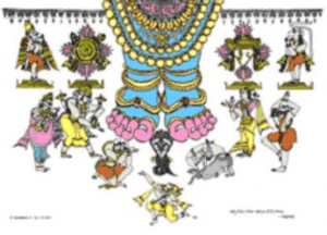 Bapu picture depicting Brahma Kadigina Padamu - a composition on 10 incarnations of Lord Vishnu
